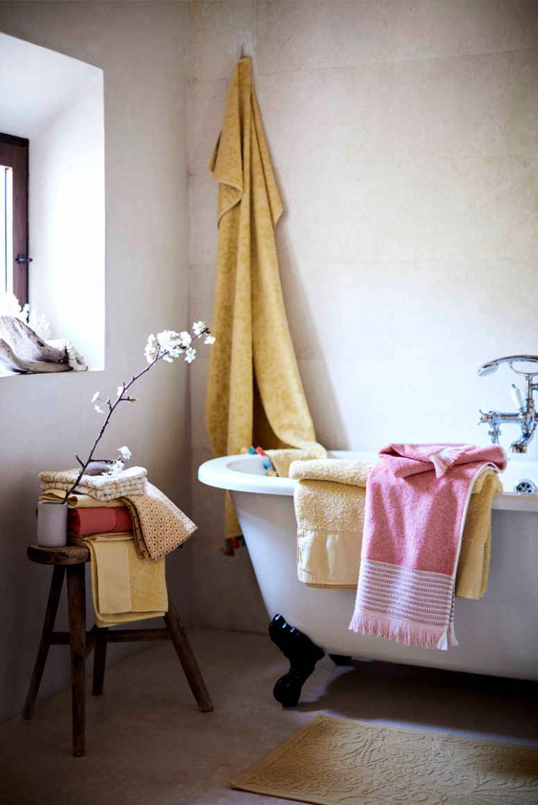Bright and colorful towels will bring a summer feel to your bathroom