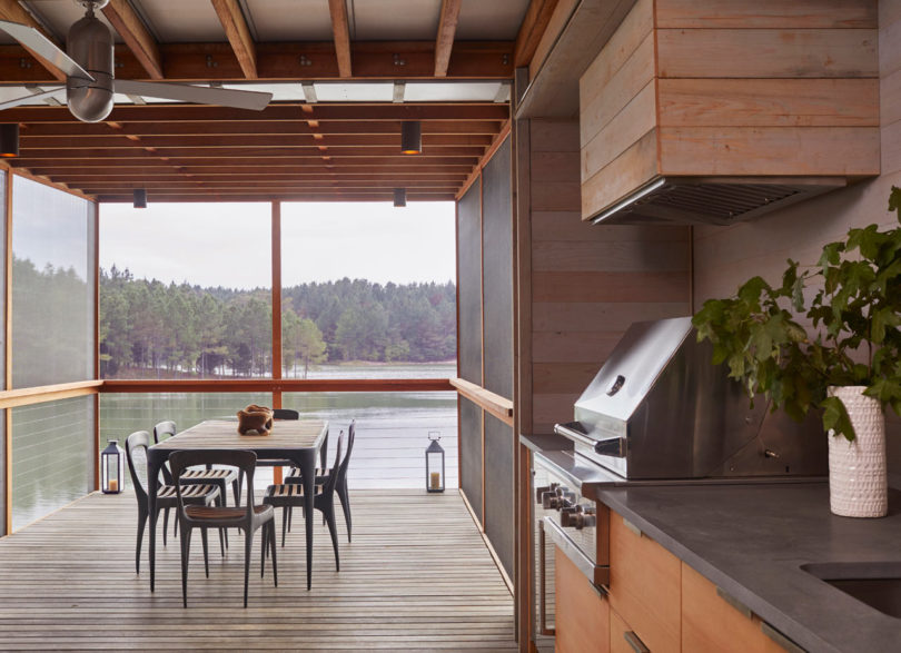 You may see a covered outdoor dining room with stunning views