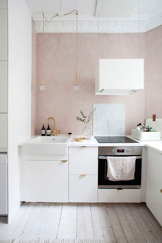 why not add a quartz pink backsplash to spruce up your neutral kitchen, it's a trendy solution