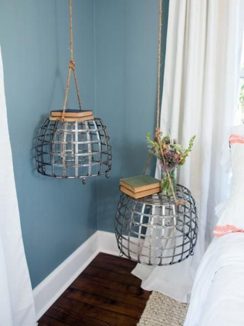 a hanging metal bedside table duo for making a unique statement in the bedroom