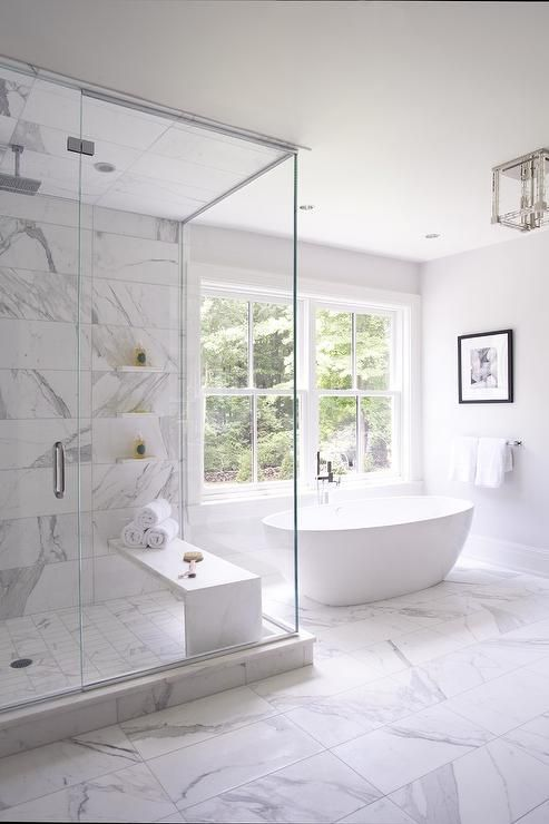 white marble tiles like these ones are a great alternative for real marble