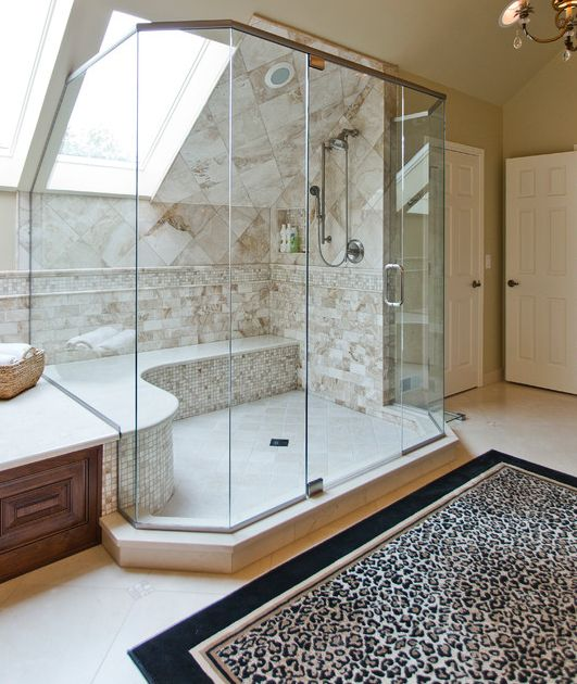 a skylight fill the shower with natural light and makes the space cooler and edgier