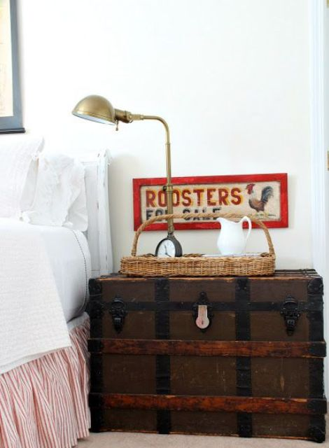 a vintage rustic trunk is perfect for a shabby chic or rustic vintage bedroom