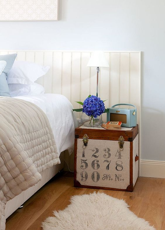 a vintage wooden trunk covered with printed fabric for an industrial touch