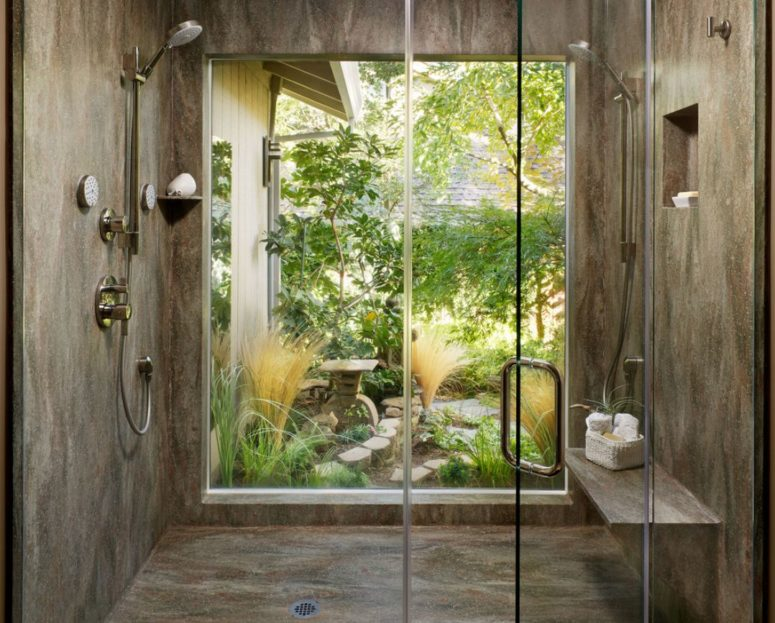 if you have your own garden with walls, going for a full height window in the shower is no problem