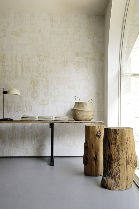 neutral fabric wallpaper brings a texture and interest to the space while being not too bright