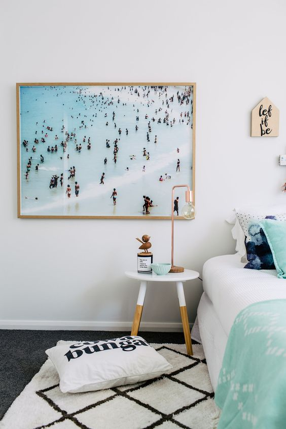 a large beach photo is a refreshing and modern take on traditional beach artworks