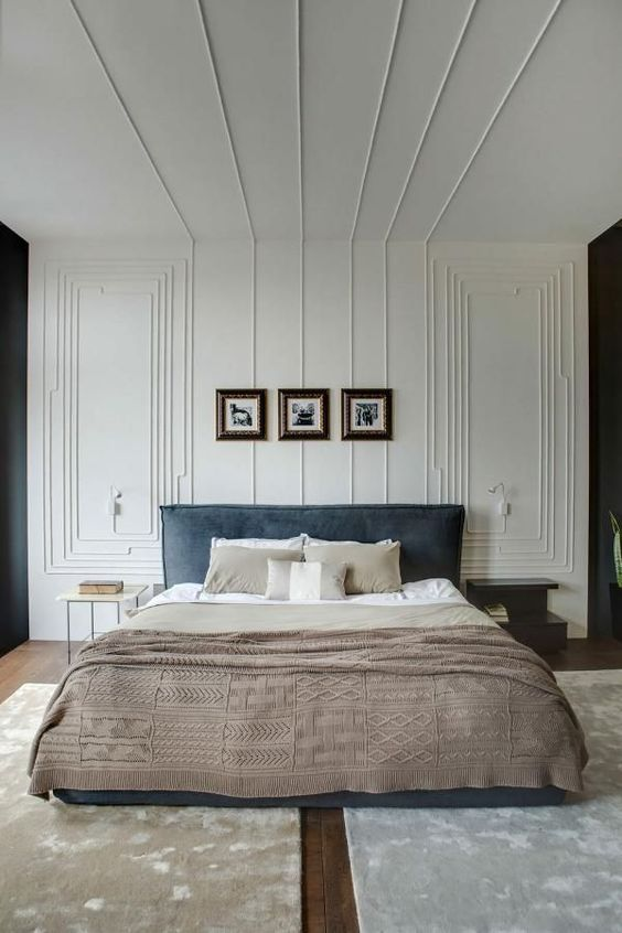 neutral bedroom with molding on the walls and ceiling for a fresh take on classics