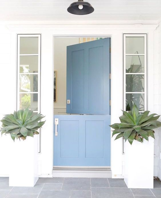 a clean modern beach house entrance with large succulents and a blue Dutch door