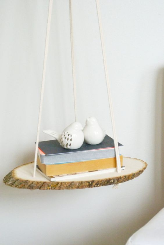 make a simple small nightstand of a wood slice and some rope, such a project won't take much time
