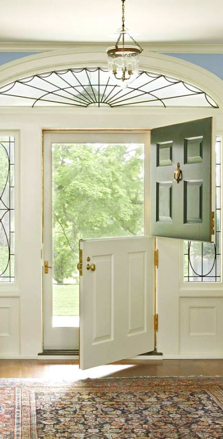 a Dutch door with no glass is also a good idea if you have glass inserts on both sides