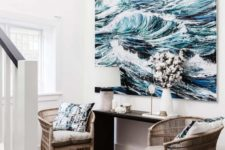 23 an oversized seaside artwork takes over this small space and makes it wow