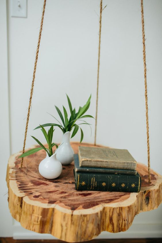 make such a gorgeous tree stump slice bedside table with rope for a chic natural feel