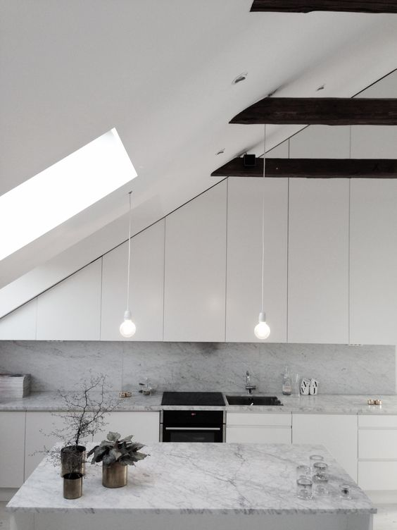 white is great to make the space look larger and airier and some light over the cooking surface is essential