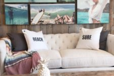 24 create a whole gallery wall of your own beach pictures to add a relaxing feel to the space