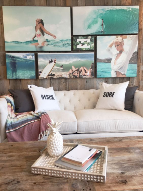 create a whole gallery wall of your own beach pictures to add a relaxing feel to the space