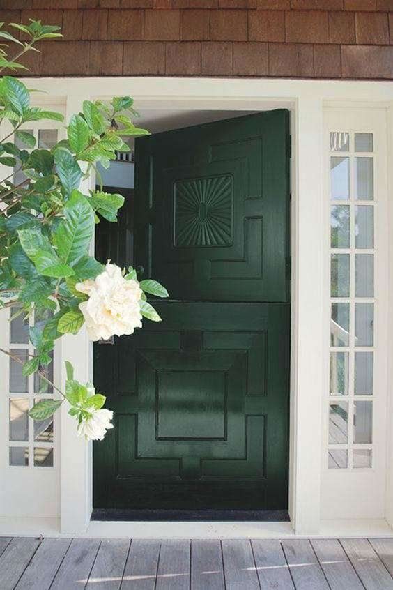 A Stylish Black Geometric Dutch Front Door Looks Like A Bold Statement