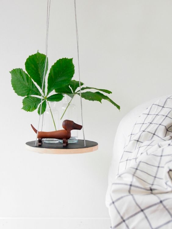 this petite hanging table is an IKEA hack and looks very modern