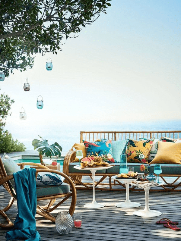 summer textiles for an outdoor space