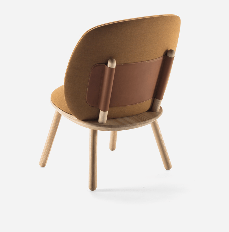 Naive Low is made of fabric, wood and leather and the leather strap holds the back