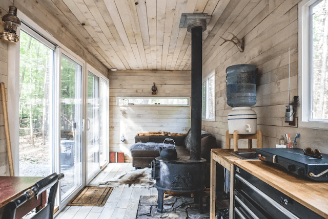 warm wood clad cabin interior
