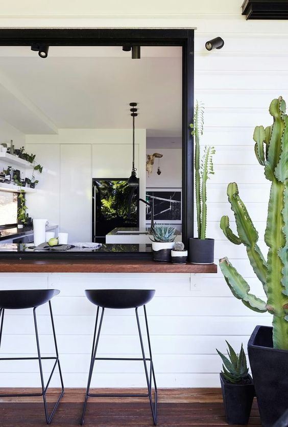 a black and white space with a dark stained bar counter and black metal stools plus cacti