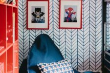 03 a blue bean bag chairs with a colorful pillow to make your kids' room very bold and welcoming