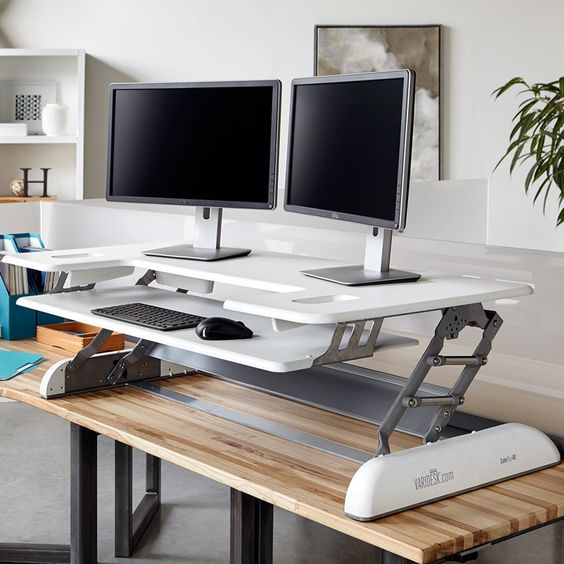 an adjustable metal and white plastic desk system is comfy piece to use if you don't want to change the whole desk