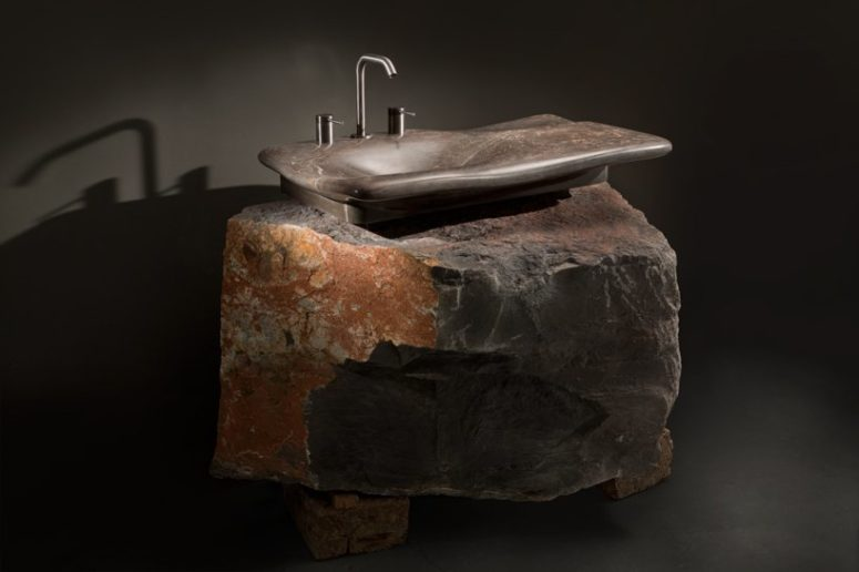 Erosion is a sculptural sink that makes the stone stand out and shows off the shape. It's perfect for masculine bathroom designs.
