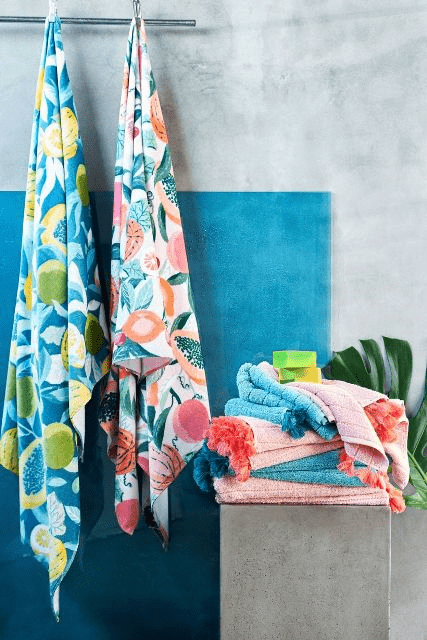 Get some tropical towels for the bathroom to make it cheerful