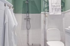 04 add a colorful touch to your monochromatic bathroom with mint for more interest