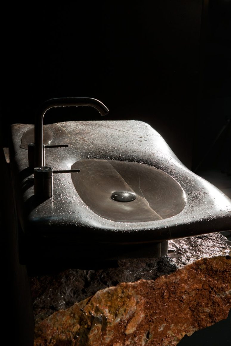 Combine such sinks with rough stone vanities for a spa feel and a unique look