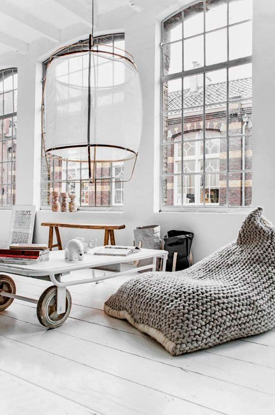 a chunky knit bean bag chair is great for Scandinavian and industrial interiors