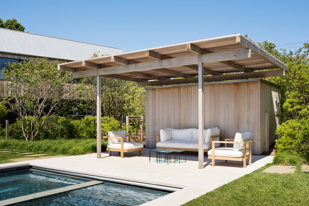 There's a cabana and a pool outside the house to enjoy staying outdoors