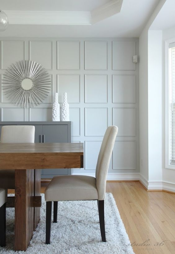 make your neutral dining room interesting with eye-catchy grey wall panels like these ones