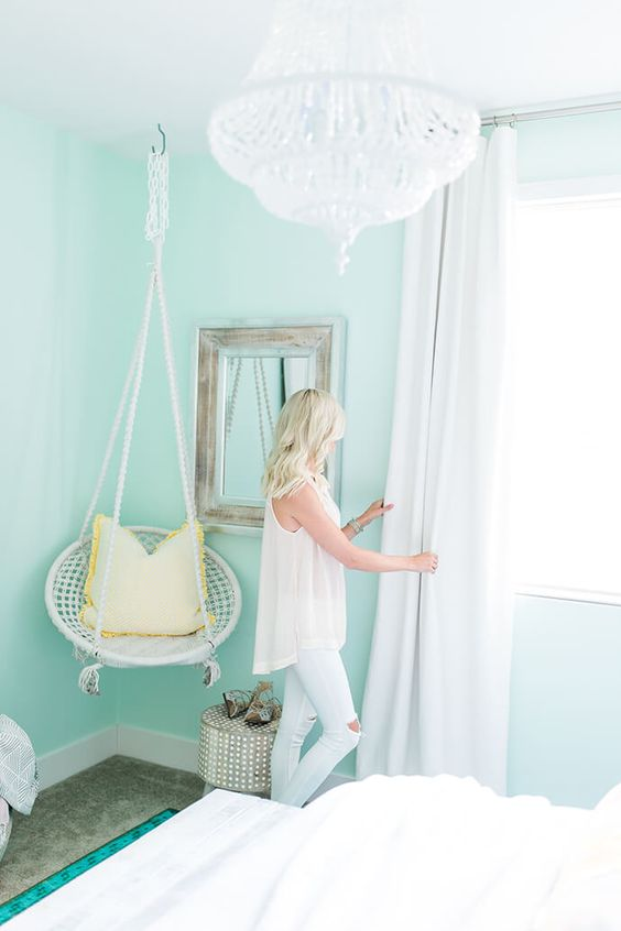 painting your bedroom walls in mint is a great idea to refresh it and make more vivacious