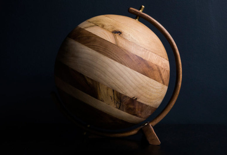 The Jupiter globe comprises four different types of wood