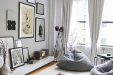 07 a couple of grey bean bag chairs is used instead of usual chairs to create a comfy nook