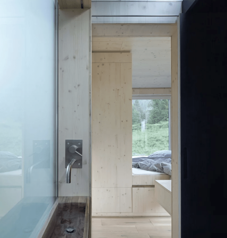 bathroom with wood clad walls