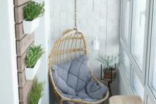 hanging chair on a balcony