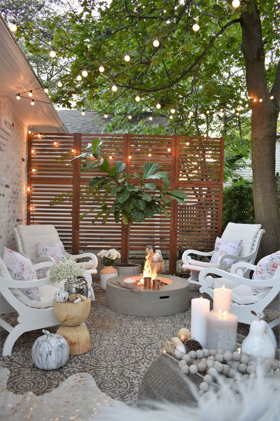 a wooden plank screen can be spruced up with a couple of planters and lights over the screen to look cool