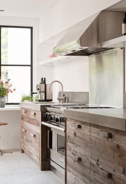 an industrial space of rough wood, stainless steel and concrete countertops for a tough look
