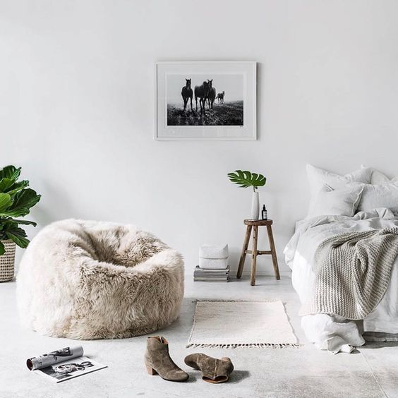 a faux fur bean bag chair will add texture and coziness to any space and will make it more glam