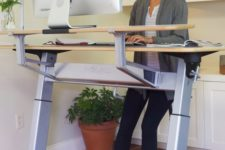 11 a large standing desk and a leaning stool will take some space but will make you fele comfortable