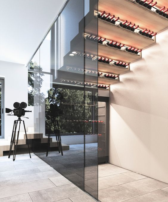 a smart wine cellar with the bottles stored in the steps and in a cooler