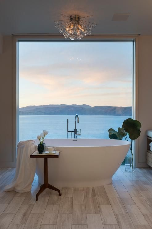 bathroom design with a panoramic view