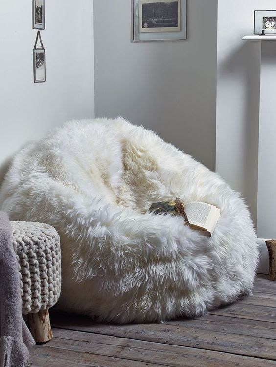 a faux fur bean bag chair is right what you need ot feel comfortable in the cold seasons