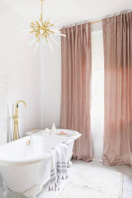 add dusty rose drapes to your bathroom for a refined and girlish feel