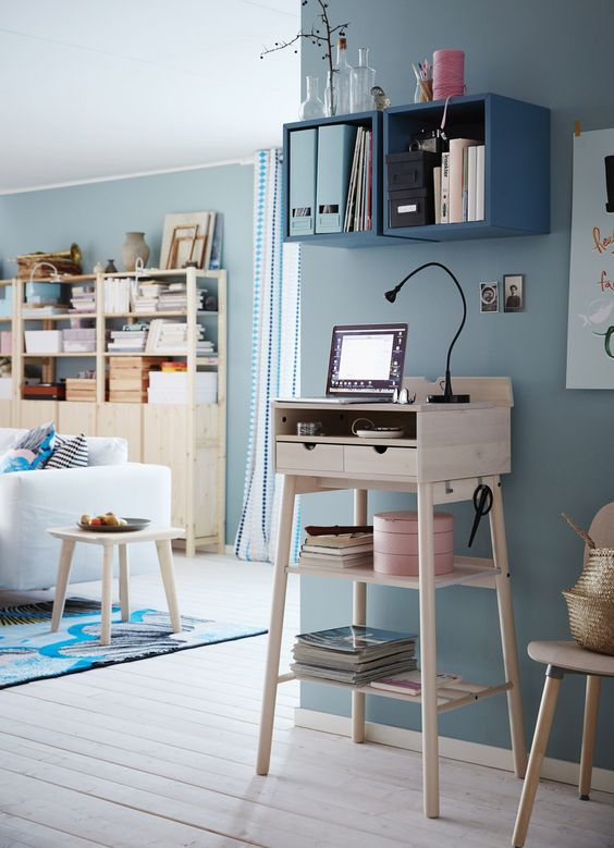 a little light-colored wooden standing desk won't take much space and is suitable for tiny spaces