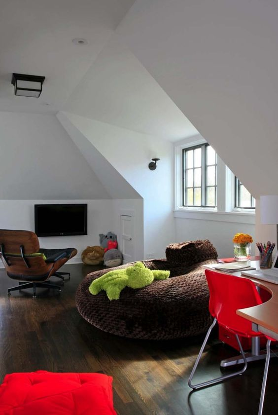 an oversized soft bean bag chair is ideal for a welcoming and cheerful kids' space